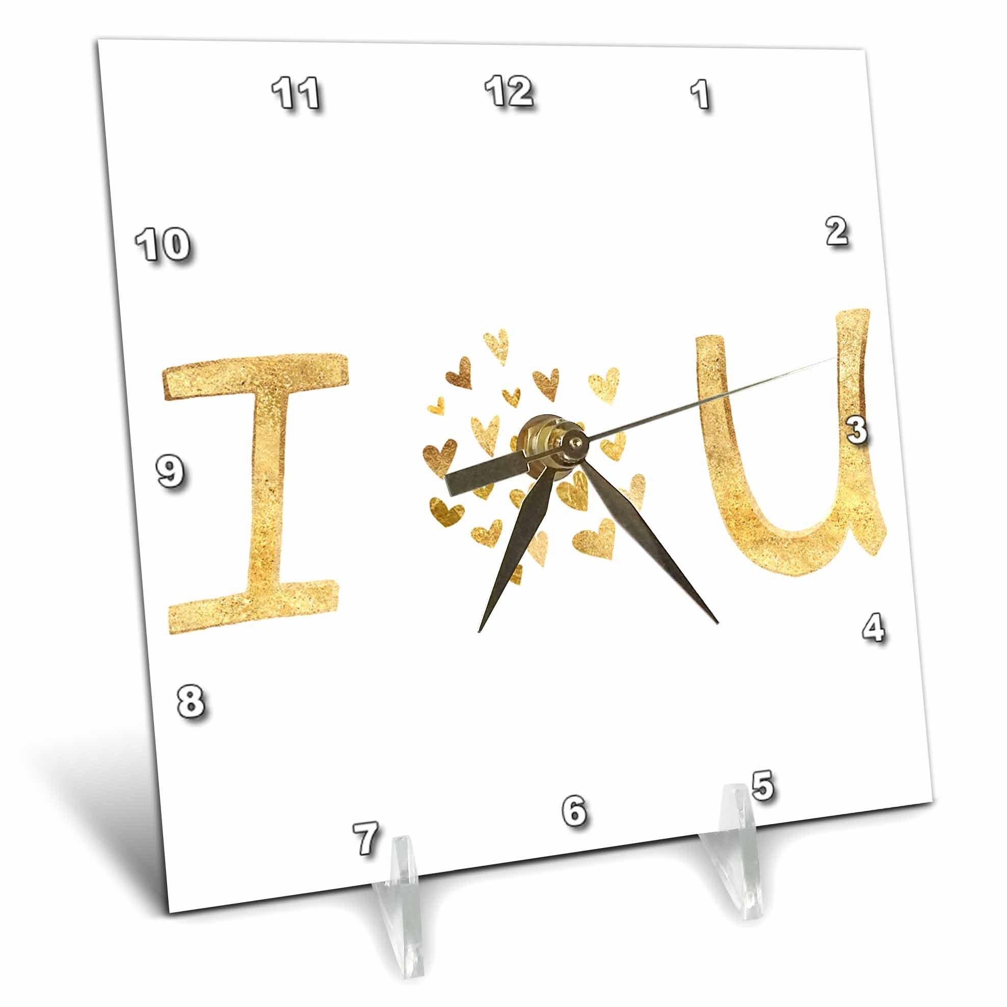 3dRose PS Inspiration - Gold I Love You Hearts - 6x6 Desk Clock (dc_280746_1)