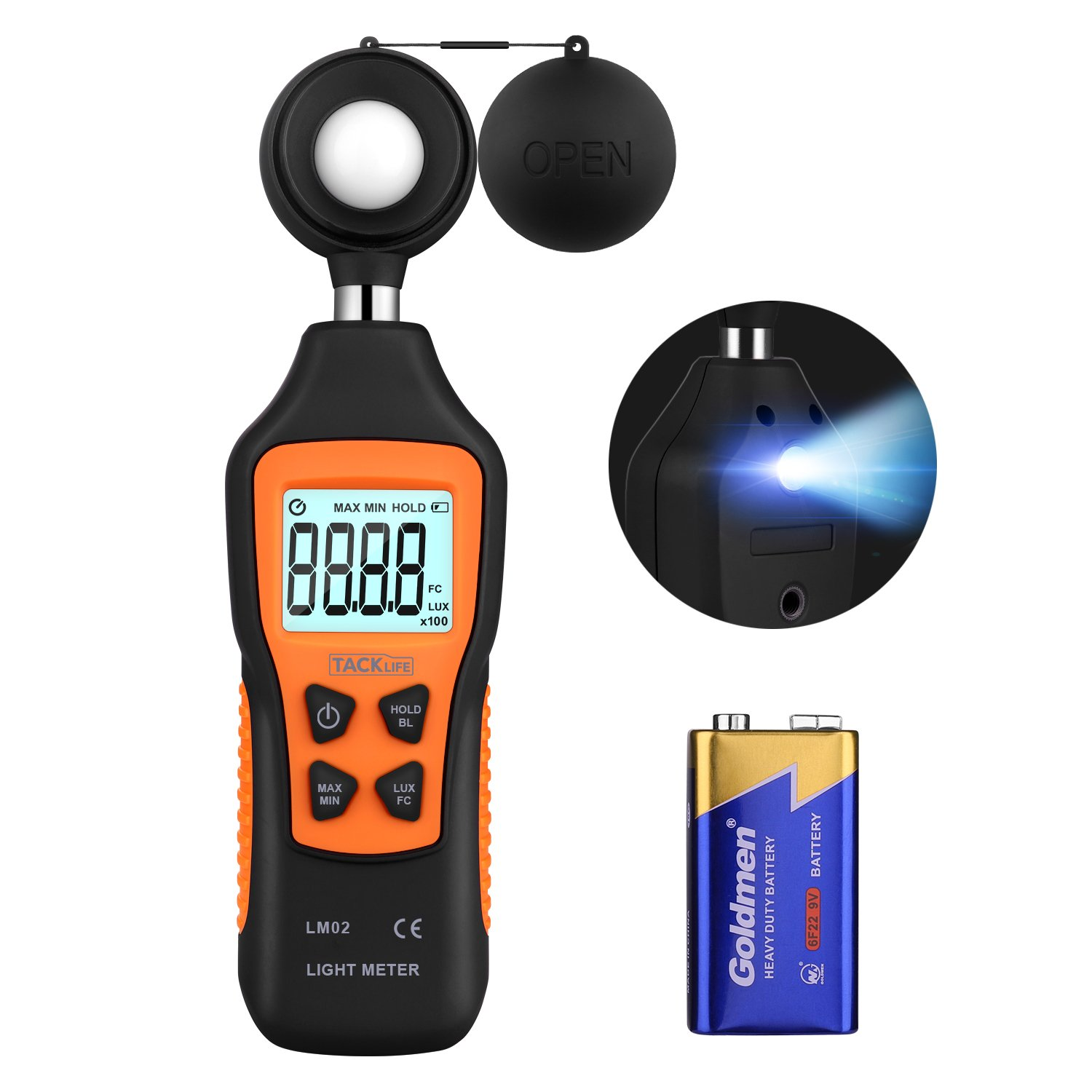 Light Meter, Tacklife Handheld Digital Illuminance Meter with High Accuracy(±4%), 0-200000Lux/0-20000FC, Blacklight & Flashlight, MAX/MIN/Data Hold, Battery Included - LM02