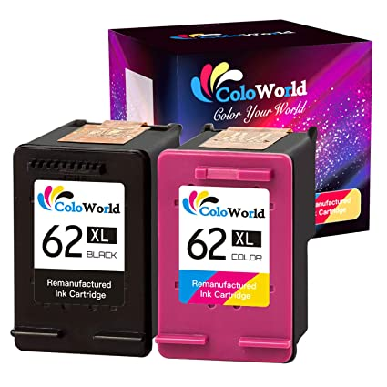 ColoWorld 62XL - Repuesto para Impresora HP 62XL OfficeJet 250 200 5740 5742 Envy 7640 5646 5540 5640 5545 5541 5544 (1 Negro, 1 Color)