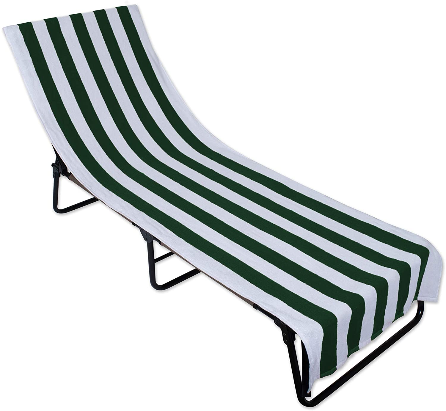 DII Stripe Beach Lounge Chair Towel with Fitted Top Pocket, 26x82, Hunter Green
