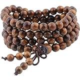 Shanxing 108 Perlen Holz Yoga Armband Buddha Buddhistische Tibetische Gebetskette Mala Kette Halskette