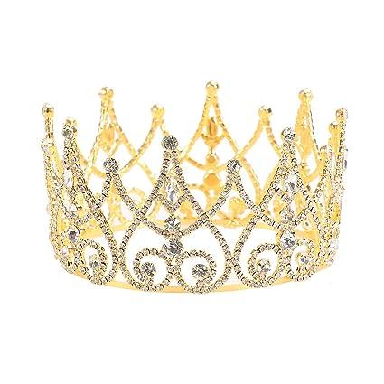 Frcolor Diadema barocco dorato di lusso regina re corone strass cristallo  fascia sposa copricapo accessori per 56176db7eb1e