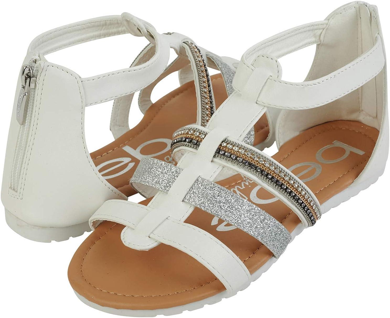 bebe Girls Glitter Strap Sandals with Heel Zip Closure Little Kid//Big Kid