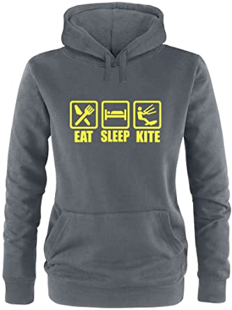 EZYshirt® Eat Sleep Kite Damen Hoodie