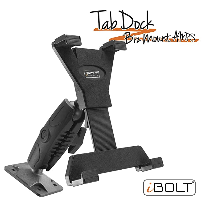"iBOLT TabDock Bizmount AMPs - Heavy Duty Drill Base Mount for All 7"" - 10"" Tablets (iPad, Samsung Tab) for Cars, Desks, Countertops: Great for Commercial Vehicles, Trucks, Schools, and Businesses"