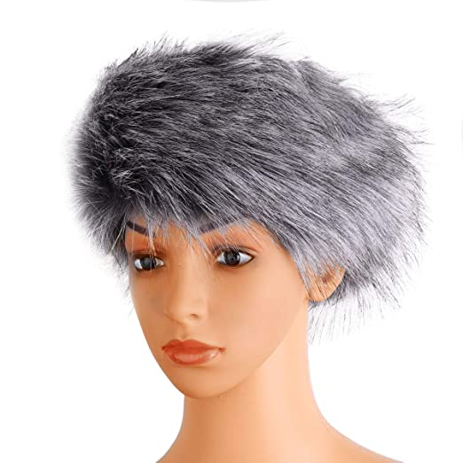 iiniim Women s Faux Fur Headband Elastic Head Warmer Luxurious Earmuff Snow  Hat Grey One Size 4351dd3a3876