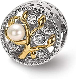 Lex & Lu in argento Sterling riflessi gold-tone Simulata Pearls & Czs leaves Bead