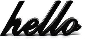 CVHOMEDECO. Matt Black Wooden Words Sign Free Standing Hello Desk/Table/Shelf/Home Wall/Office Decoration Art, 10-1/2 x 4-1/2 x 1 Inch