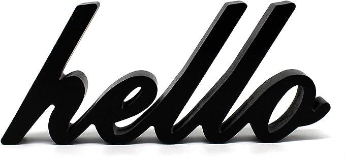 CVHOMEDECO. Letrero de Madera con Texto en inglés «Hello ...