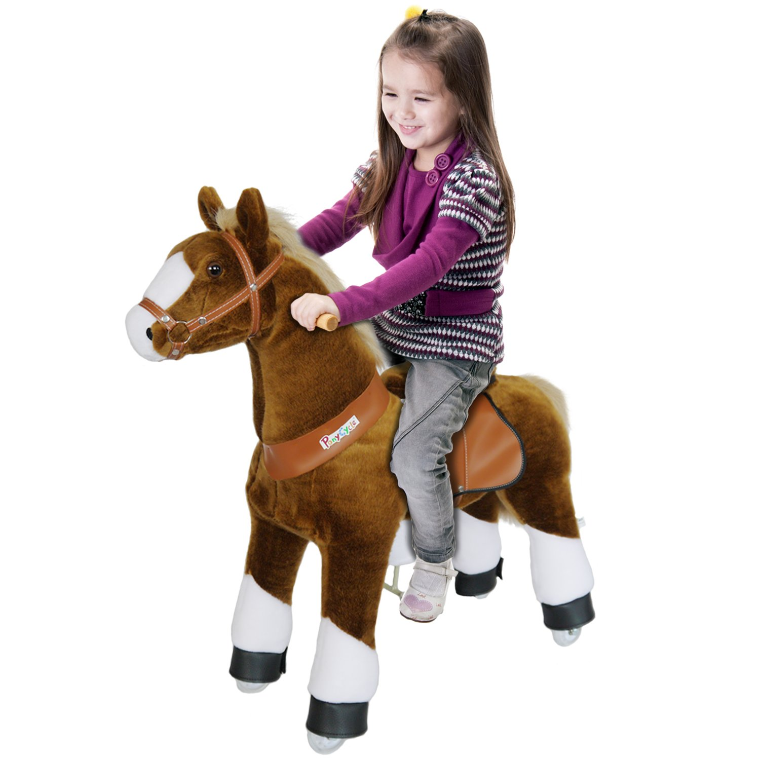PonyCycle Official Ride-On Horse No Battery No Electricity Mechanical Pony Brown with White Hoof Giddy up Pony Plush Walking Animal for Age 4-9 Years Medium Size - N4151 by PonyCycle (Image #2)