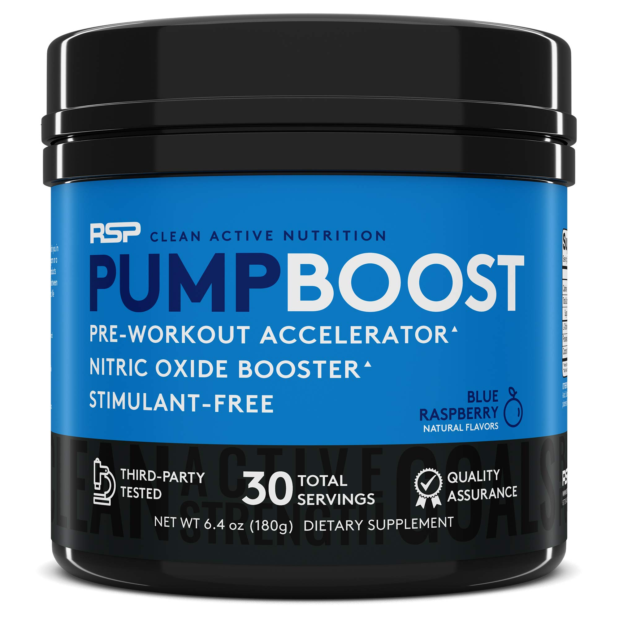 RSP Pump Boost - Stimulant Free Pre Workout & Nitric Oxide Booster, N.O. Boost for Enhanced Pumps, Energy Boost, and Improved Training Endurance, Blue Rasp (Packaging May Vary) by RSP Nutrition