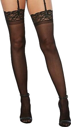 Women Queen Sheer Black BackSeam Stockings 1X Plus Size Black Music Legs 4102 Q