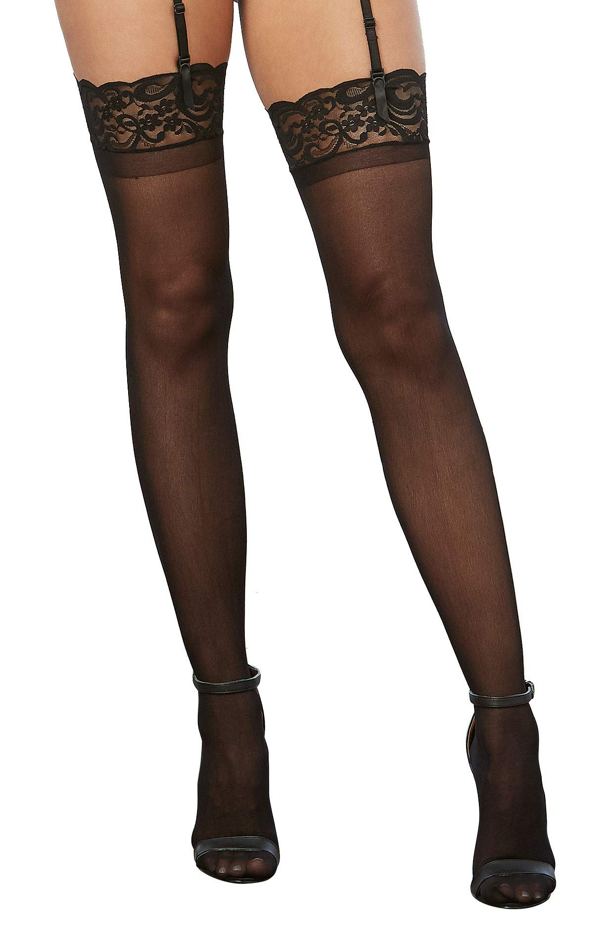 Dreamgirl Women's Lace Top Sheer Thigh-High Stockings