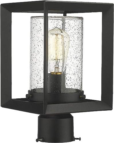Emliviar Post Lights Outdoor Fixture, 1-Light Lamp Post Lantern, Black Finish, Seeded Glass, 2083P BK