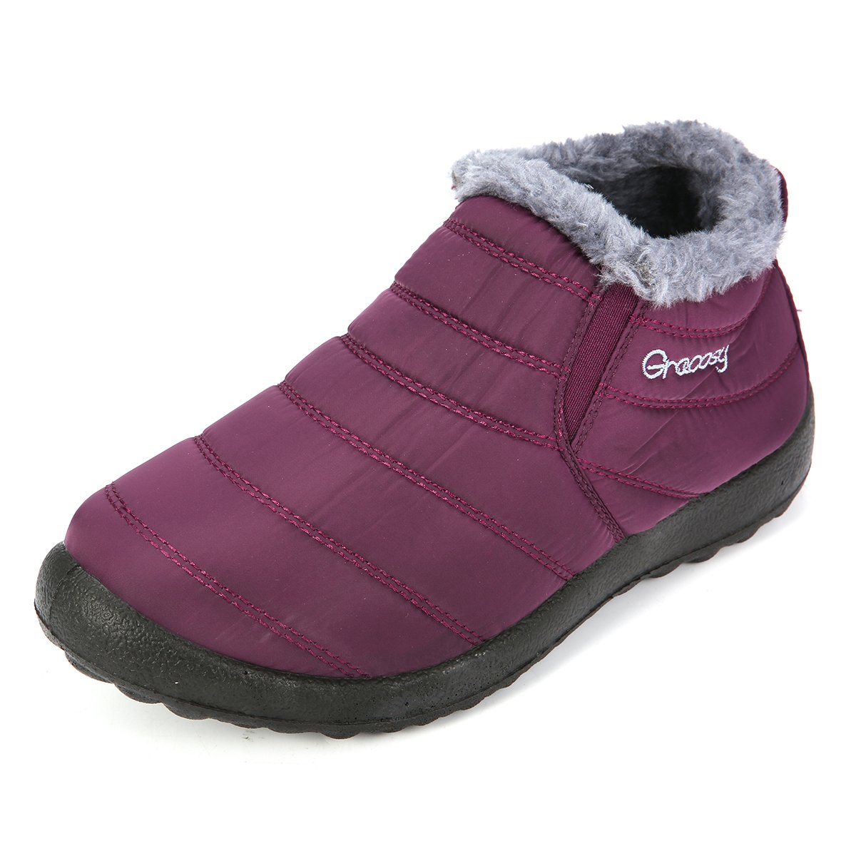 Fur Lining Boots,Waterproof Thickening Winter Shoes for Women and Men Winter Warm Ankle Boots gracosy Warm Snow Boots