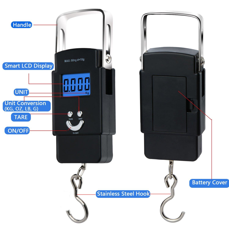 Moobom 1 m Cinta, 50 kg báscula electrónica, Pantalla LCD retroiluminación Digital Equilibrio Postal Gancho para Pesca Equipaje, 2 AAA Pilas Incluidas: ...