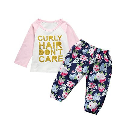 60e0ca848 Amazon.com: HOT Sale!!1-4 Years Old Toddler Kids Clothes,Baby Girls  Bronzing Letter Outfits T-Shirt Tops + Pants (4T, Pink): Computers &  Accessories
