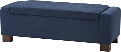 CHITA Button Tufted Fabric Storage Ottoman Bench