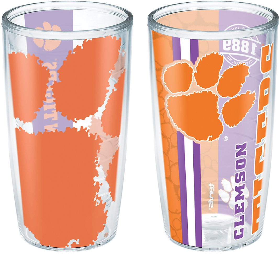 Tervis 1240473 Clemson Tigers College Pride and Colossal Insulated Tumbler with Wrap 2 Pack Boxed 16oz Clear