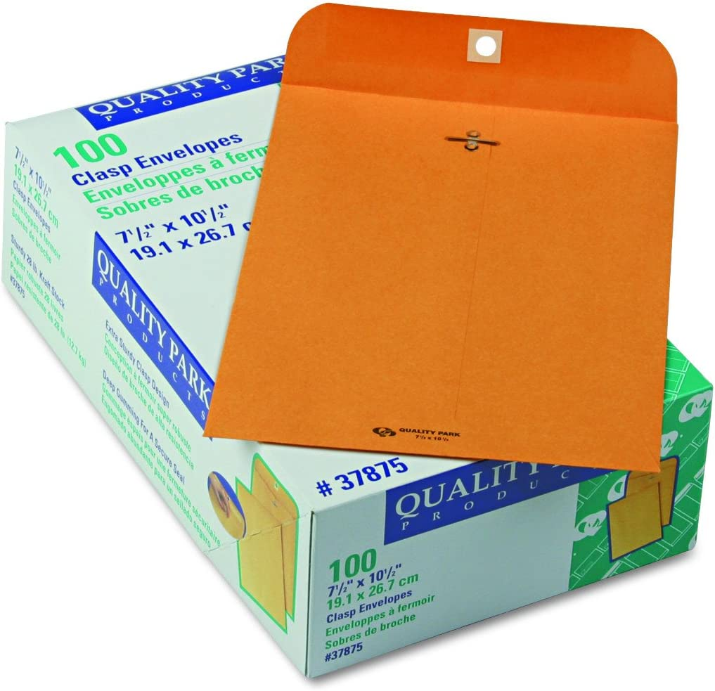 Quality Park Gummed Kraft Clasp Envelopes, 7.5 x 10.5, Box of 100 (37875) : Office Products