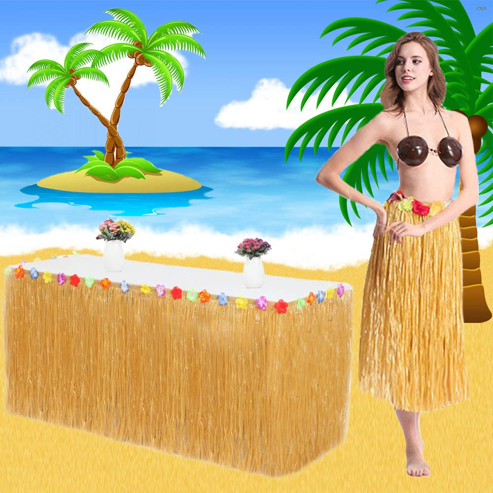 VSTON Hawaiian Luau Table Skirt,9ft Hibisus Grass Hawaii Summer Garden BBQ Tropical Beach Tropical Garden Luau Party Tiki Party Decoration(Yellow)