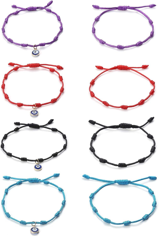 Wremily Handmade Evil Eyes Bracelet 7 Knots Bracelets Adjustable, Red String Amulet Nazar Bracelets for Womens, Mens, Girls, Boys, Thread Amulet for Luck and Success