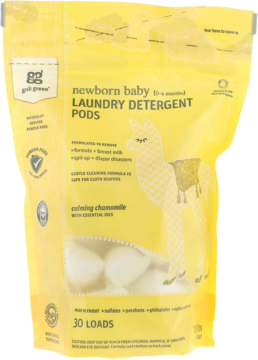 Grab Green Laundry Detergent Pods, Newborn Baby, 0-4 Months, Calming Chamomile with Essential Oils, 30 Loads, 1.05 lbs (480 g)