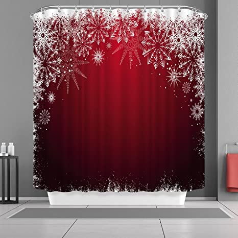 Christmas Bathroom Curtains.Vancar Waterproof Bathroom Decor Custom Xmas Merry Christmas Shower Curtain Sets With Hooks 66 X72 White Snowflake Red Background Pattern Print