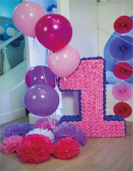 AOFOTO 7x9ft First Birthday Celebration Backdrop Baby 1 Years Old Party Decoration Photography Background Interior Balloons