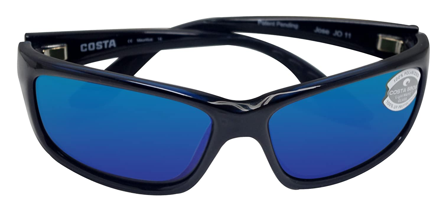 b5050fece4 Amazon.com  New Costa Del Mar Jose 580G Black Blue Mirror Polarized Lens  62mm Sunglasses  Clothing