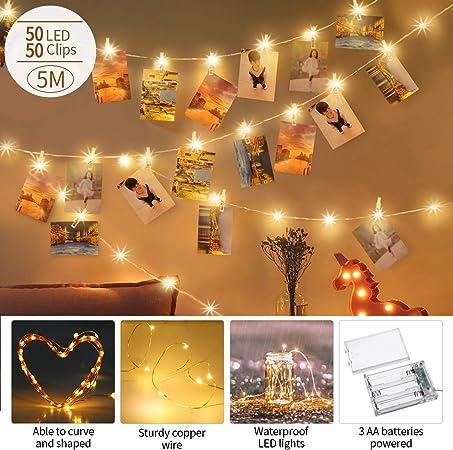 Décoration 5M Ajustables 50 Blanc Transparents way à Guirlandes 50 Intérieur et king Doux Murale LED Lumineuses Romantique do avec Clips Piles oxQdECerBW
