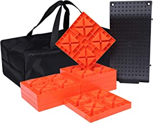 Homeon Wheels Camper Leveling Blocks, One Top Tire Saver Ramps and 9 Pack Interlocking Leveling Blocks with Carrying Bag, Heavy Duty Rv Leveling Blocks and Chocks Anti-Slip Pads Design (WH-204)