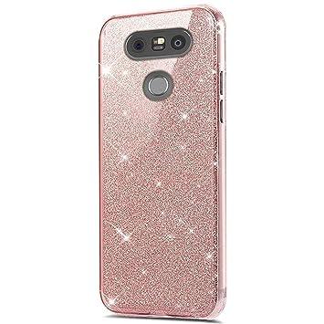 LG G6 360 grados Funda, LG G6 purpurina, LG G6 Carcasa Rosa ...