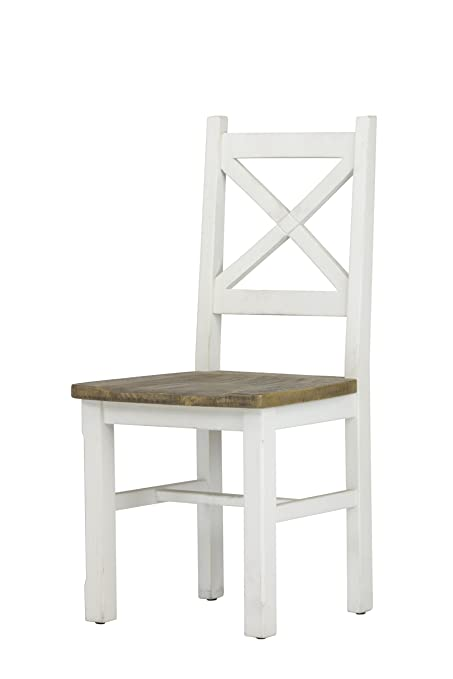 Highland Distressed White Solid Reclaimed Wood Dining Side Chair (Set Of 2)