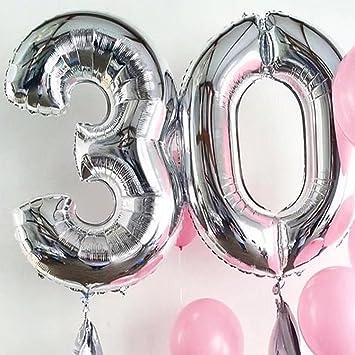 Globos de cumpleaños helio inflable de color plata de 30 ...