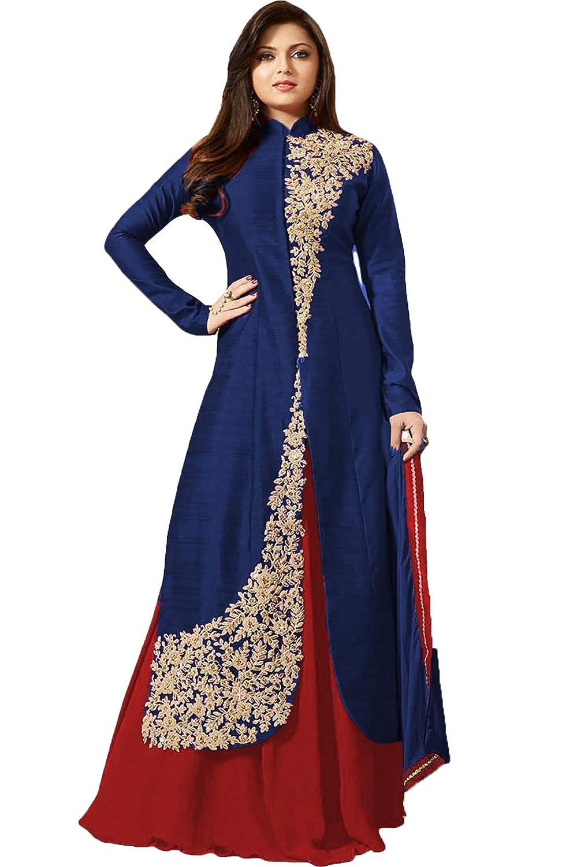 4b42b4324c0b Takshay Fashion Women s Embroidered Semi Stitched Anarkali Gown ...