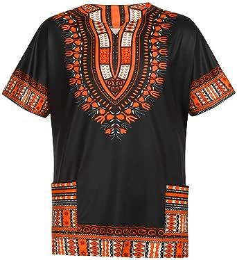 VITryst-Men Long Sleeve Plus Size Cotton African Wax Fabric T-Shirt Tops 1 2XL