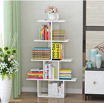 WERT Wall Bookshelves Creative Tree Shape Bookshelf Landing Shelf Multiple Layers Dorm Room Child Storage Rack
