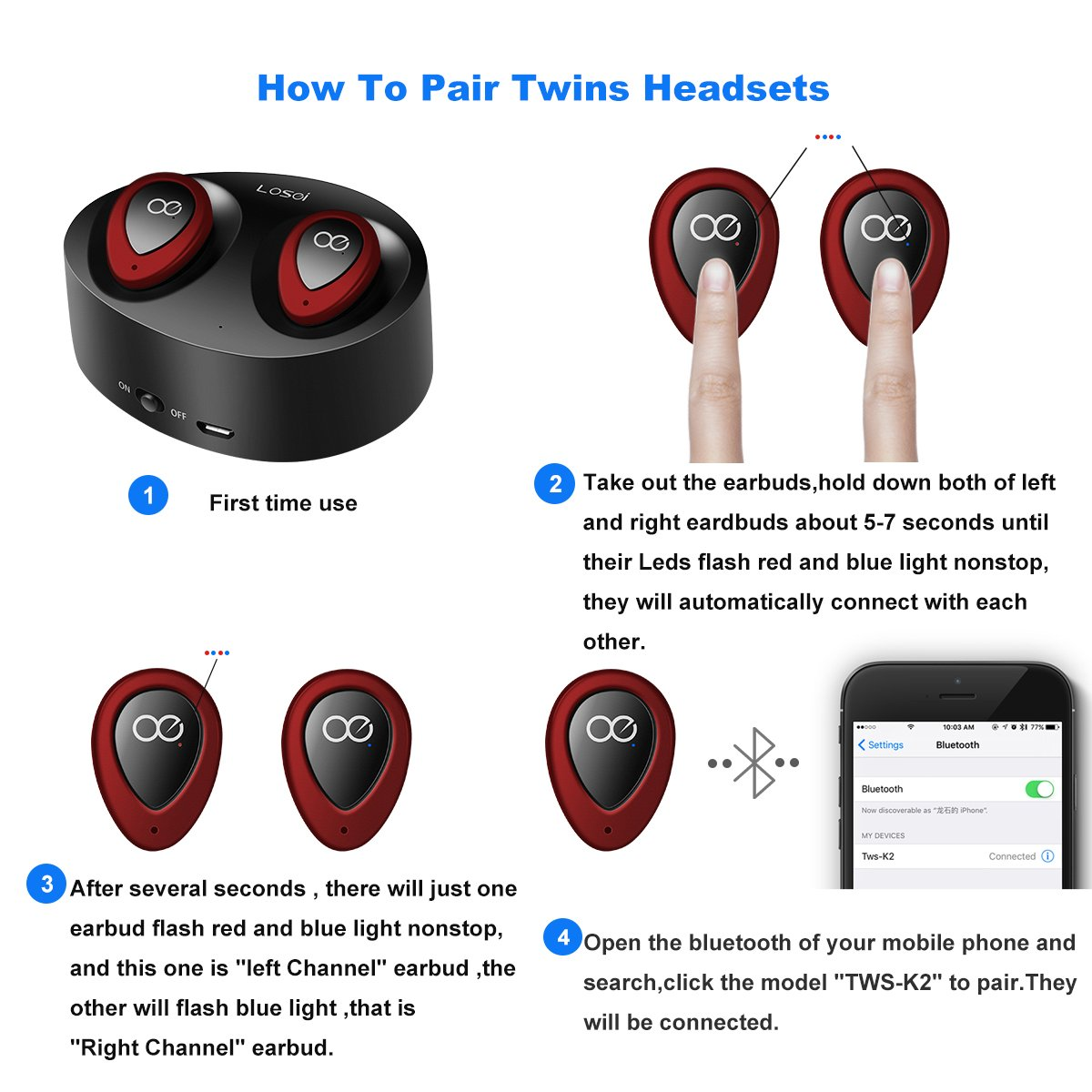 Losei Headphones Tws K2 Pair Your Device Via Bluetooth Shortmanual Com