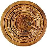 In legno di ulivo Nesting Set di 6ciotole, grana naturale