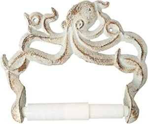 Decorative Cast Iron Octopus Toilet Paper Roll Holder – Wall Mounted Octopus Décor for Bathroom – Kraken, Nautical Bathroom Accessories – Easy to Install with included Screws and Anchors - Rust White