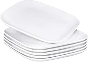 "Bruntmor 10"" Square Dinner Plates, Ceramic Dinner Dishes That Are Chip Resistant, BPA, Cadmium And Lead Free, Microwave, Oven and Dishwasher Safe (6-piece Set, White)"