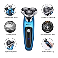 SURKER Electric Shaver Rotary Shaver Wet and Dry 3 in 1 With Nose Trimmer and Sidebums Razor