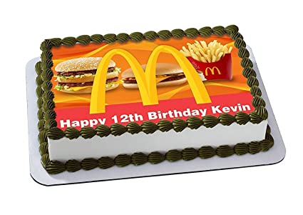 Mcdonald Edible Cake Topper Personalized Birthday 1 4 Size Sheet Decoration Party Sugar Frosting