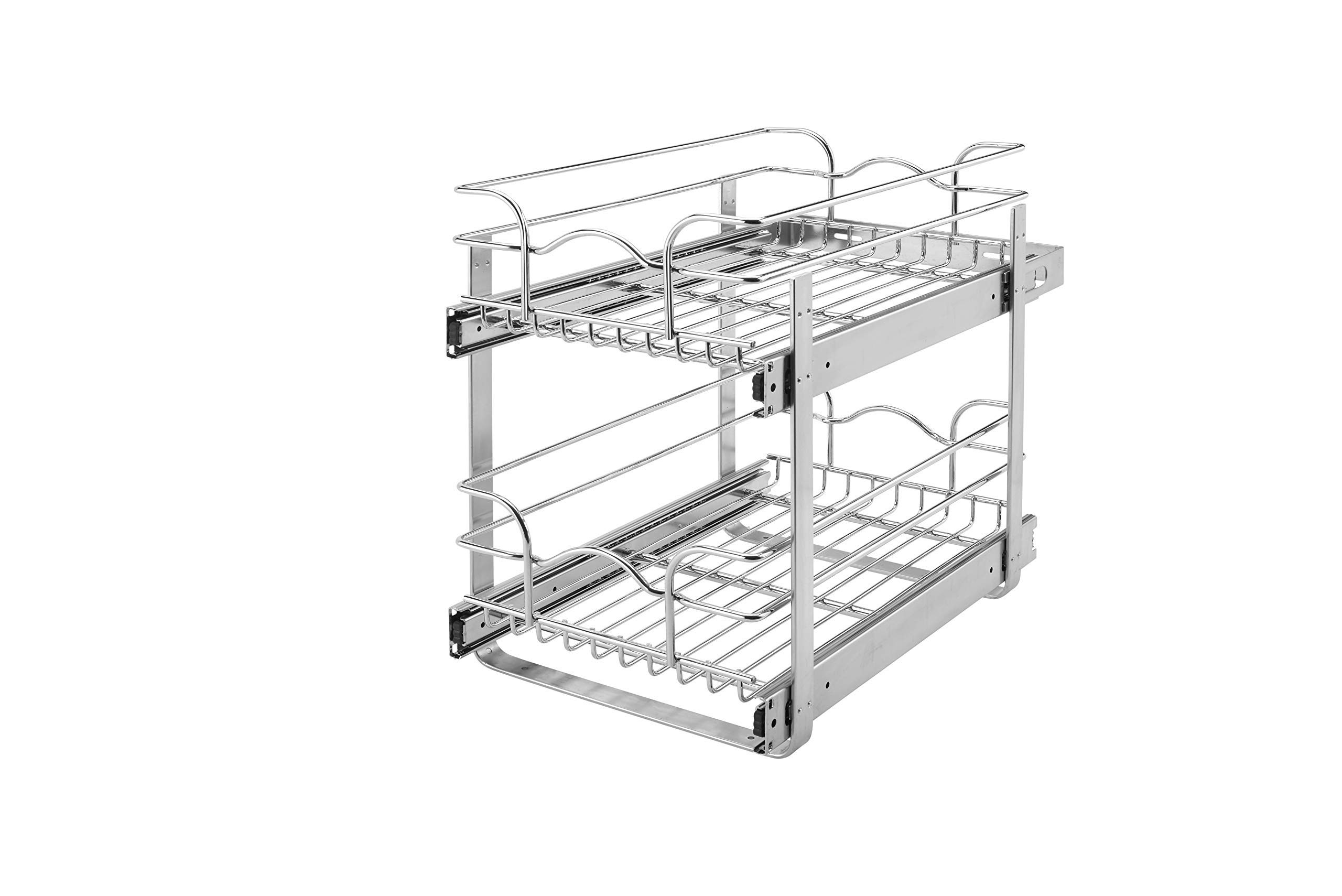 Rev-A-Shelf - 5WB2-1218-CR - 12 in. W x 18 in. D Base Cabinet Pull-Out Chrome 2-Tier Wire Basket (Renewed) by Rev-A-Shelf