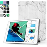 """TNP New iPad 2017 iPad 9.7 inch Case - Lightweight Smart Case Trifold Slim Shell Stand Cover with Auto Sleep Wake Function Feature for Apple iPad 9.7"""" 2017 Release Tablet (Marble White)"""