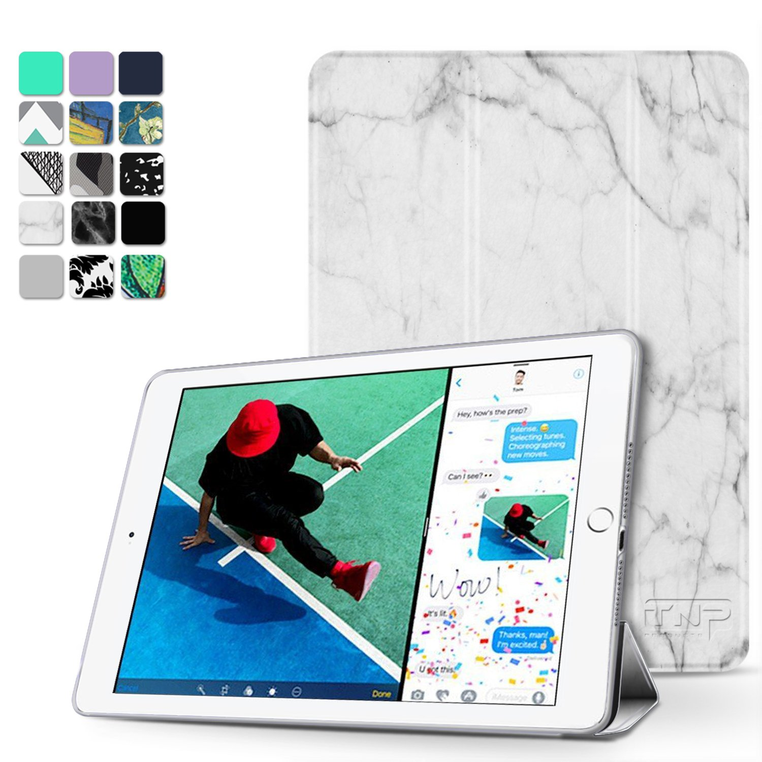 TNP New iPad 2018 2017 iPad 9.7 inch Case - Lightweight Smart Case Trifold Slim Shell Stand Cover with Auto Sleep Wake Function Feature for Apple iPad 9.7' 2018 2017 Release Tablet (Marble Rose) TNP Products IPD_17_FLD_MRB_RSG