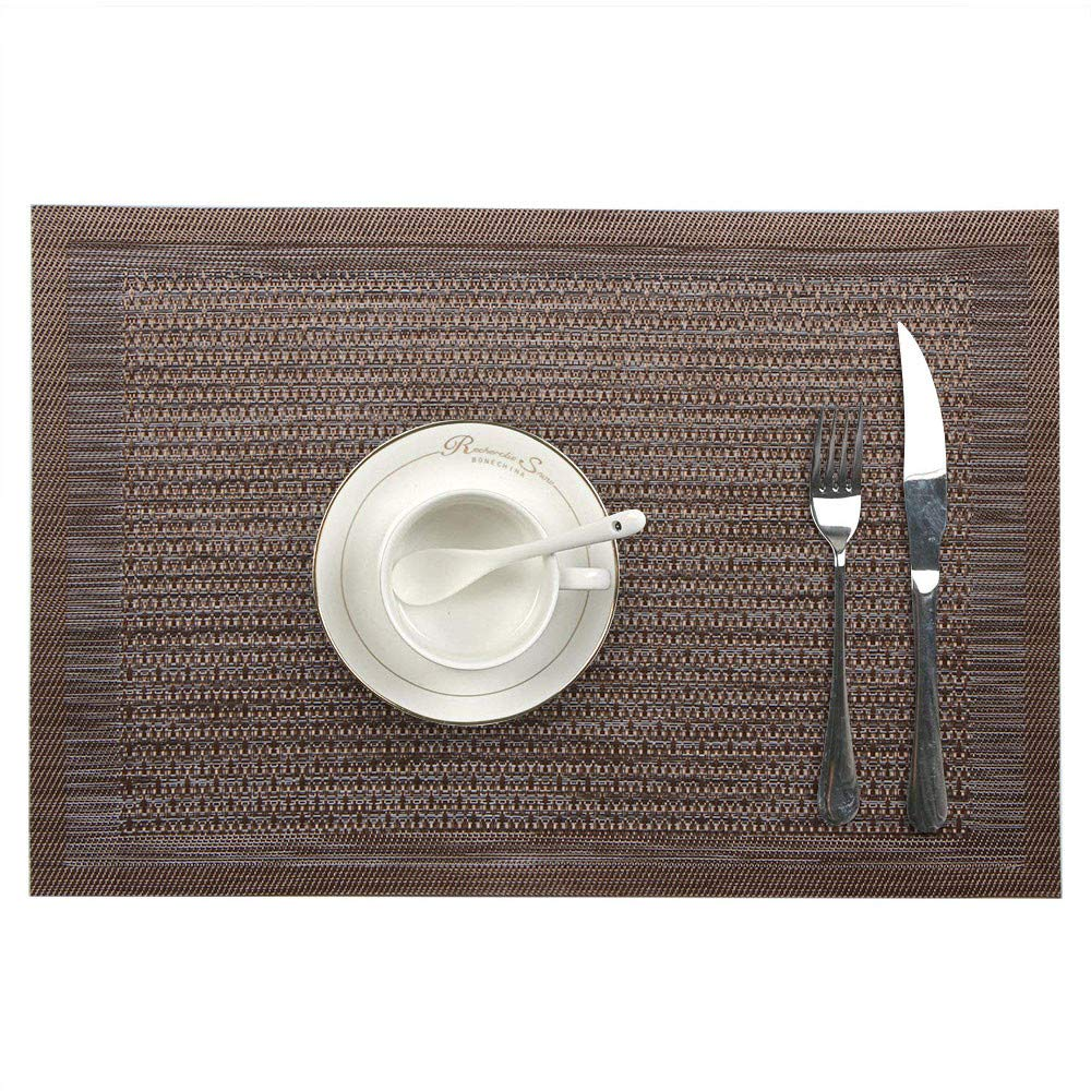 Tableware Mat European Style Rectangular Textured PVC Placemat Non-Slip Heat Resistant 18''X12'' Table Mats for Kitchen Dining Table (Coffee)