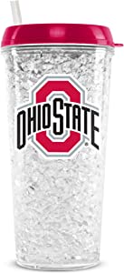 NCAA Ohio State Buckeyes 16oz Crystal Freezer Tumbler with Lid and Straw