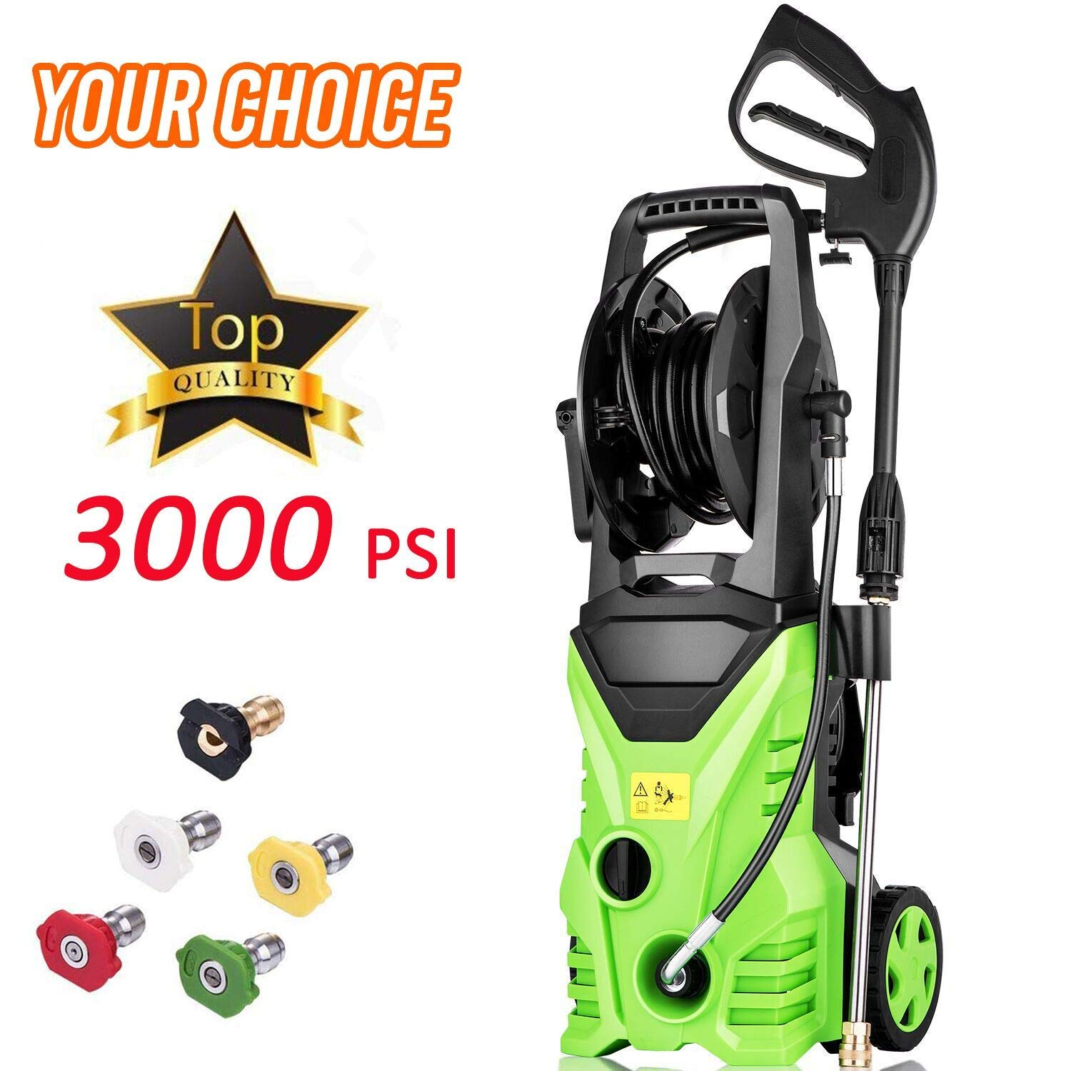 Homdox Electric High Pressure Washer 3000PSI 1.8GPM Power Pressure Washer Machine 1800W with Power Hose Gun Turbo Wand,5 Interchangeable Nozzles and Rolling Wheels